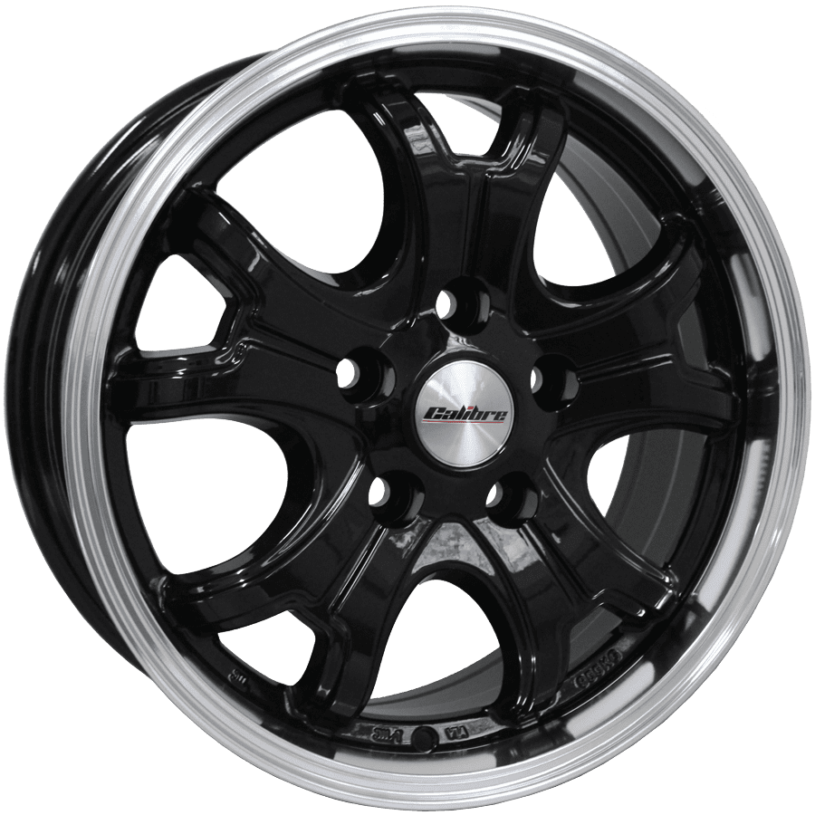 "Llanta Calibre Dominator 6.5x16"" Black/Polished Lip 5x160 ET50"