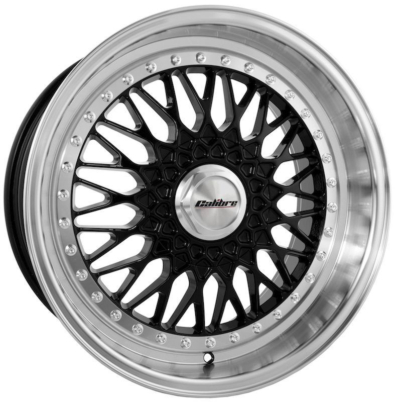"Wheel Calibre Vintage 7x16"" Black/Polished Dish 4x100~4x108 ET25"