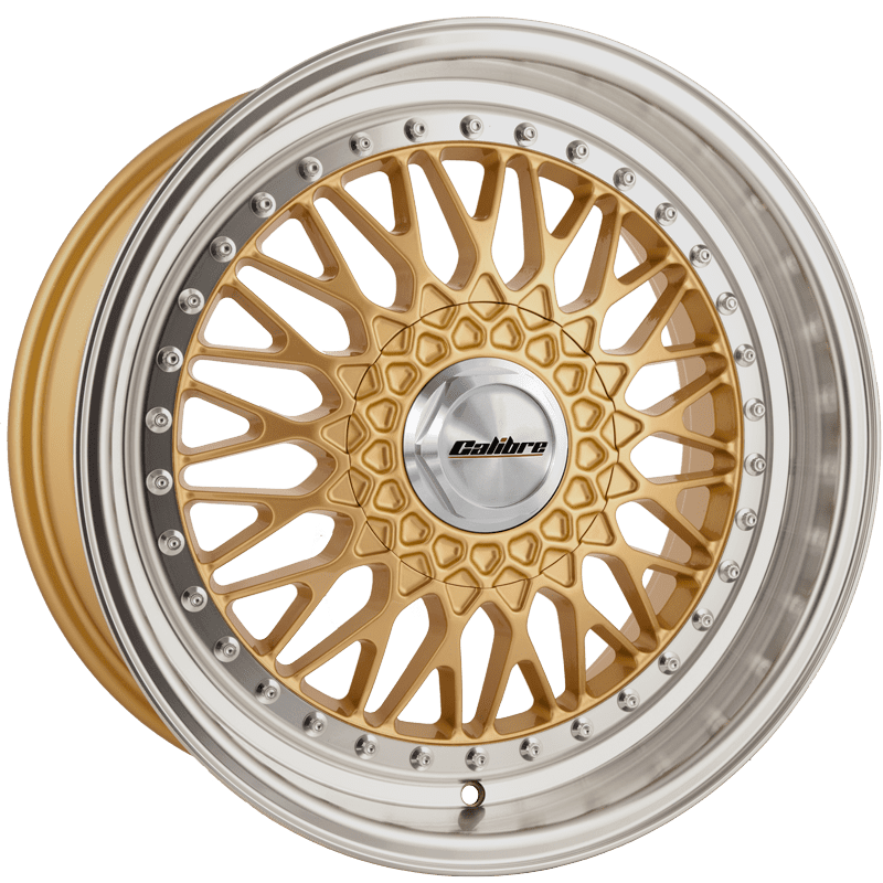 "Wheel Calibre Vintage 8x17"" Gold/polished lip 4x100~4x108 ET35"