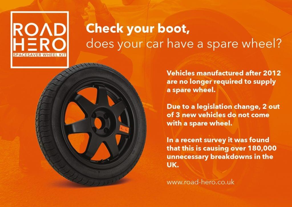 road hero spare wheel postcard design